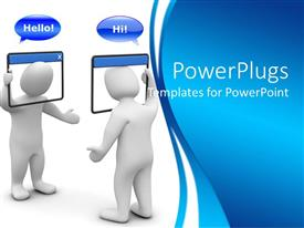 PowerPoint template displaying 3D depiction of internet chat concept blue and white background