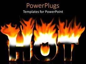 PowerPlugs: PowerPoint template with 3D depiction of large Hot text lit on fire