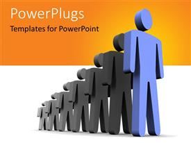 PowerPlugs: PowerPoint template with 3D depiction of the leader in blue standing in front and team behind with orange color