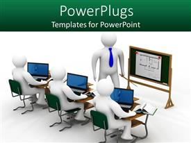 PowerPlugs: PowerPoint template with 3D depiction of lesson in class with school teacher and students