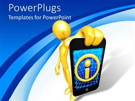 PowerPlugs: PowerPoint template with 3D depiction of man holding cell phone with information icon