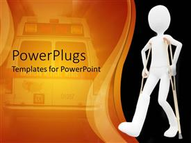 PowerPlugs: PowerPoint template with 3D depiction of man with POP on leg using crouches