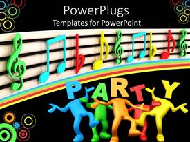 PowerPlugs: PowerPoint template with 3D depiction of multi colored figures in a party themed background