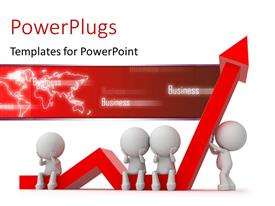 PowerPlugs: PowerPoint template with 3D depiction of people working hard to win against crisis with keywords and map