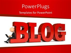 PowerPlugs: PowerPoint template with 3D depiction of a person with laptop sitting beside blog with red color