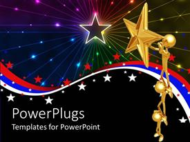 PowerPlugs: PowerPoint template with a 3D depiction of stars and figures holding star with multiple colored background
