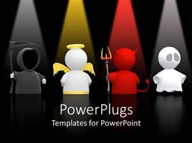 PowerPlugs: PowerPoint template with 3D depictions of death, angel, devil and ghost under highlights on black background