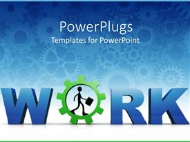 PowerPlugs: PowerPoint template with 3D design - Work with business man holding briefcase on blue background
