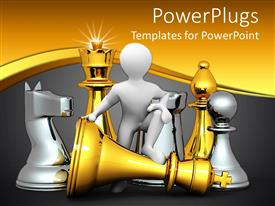PowerPlugs: PowerPoint template with 3D design depicting figure and big chess pieces gold chess pieces and silver gold pieces on golden and gray background