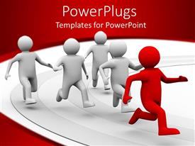 PowerPlugs: PowerPoint template with a 3D design giving the concept of leadership with white background