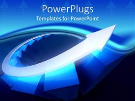 PowerPlugs: PowerPoint template with 3D diagram of glowing blue bars and silver arrow rising up the diagram depicting growth