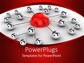 PowerPlugs: PowerPoint template with 3D diagram with half red sphere linked to silver small spheres connected to each other