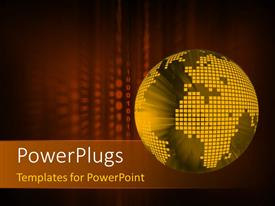 PowerPlugs: PowerPoint template with 3D digital globe on a binary code