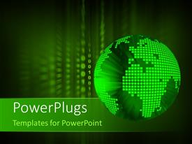 PowerPlugs: PowerPoint template with 3D digital green globe on a binary background