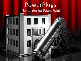 PowerPlugs: PowerPoint template with 3D digital representation of metallic gun in front og three story office building, gun in front of bank building, robbery theme