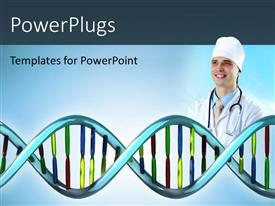 PowerPlugs: PowerPoint template with 3D DNA model with doctor depicting medical concept