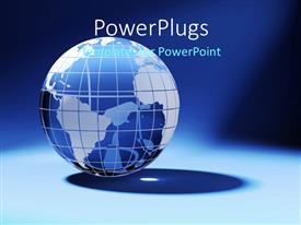 PowerPlugs: PowerPoint template with a 3D earth globe on a blue colored background