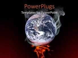 PowerPlugs: PowerPoint template with 3D earth smoking on fire over dark background depicting Global warming concept