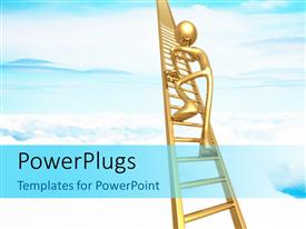PowerPlugs: PowerPoint template with 3D figure climbing up the ladder with clouds in the background