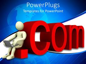 PowerPlugs: PowerPoint template with 3D figure sitting on red dot com holding laptop on his lap