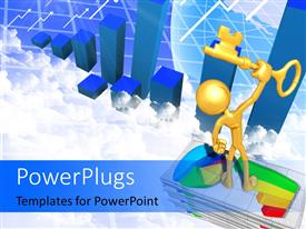 PowerPlugs: PowerPoint template with 3D figure standing on pile of financial charts holding golden key in hands and graphs in the background