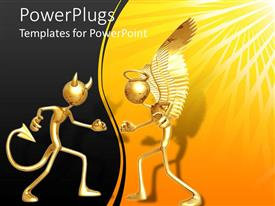 PowerPoint template displaying 3D figures devil and angel, evil and good, dark and light concept, demon on black and angel on yellow with sun rays background