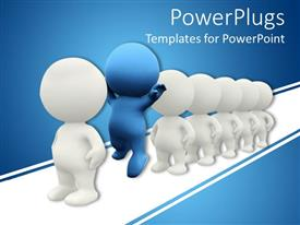 PowerPlugs: PowerPoint template with 3D figures in line, white figures and blue figure outstanding in line