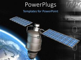 PowerPlugs: PowerPoint template with 3D floating satellite in space orbiting round the earth