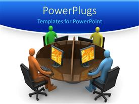 PowerPlugs: PowerPoint template with 3D four figures around a round table working on desktop computers