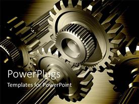 PowerPlugs: PowerPoint template with 3D gear wheels on steel background