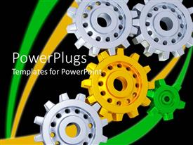 PowerPoint template displaying 3D gears with three silver gears, one yellow gear and one green gear forming gear mechanism on black background