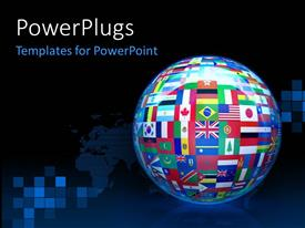 Beautiful presentation theme with a 3D glob with different country flags on it over dark background