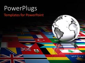 PowerPlugs: PowerPoint template with 3D globe against a background of flags of the world
