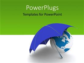 PowerPoint template displaying 3D globe covered with an umbrella depicting insurance, green color