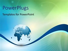 PowerPlugs: PowerPoint template with 3D globe with flare effect with blue, green and white colors