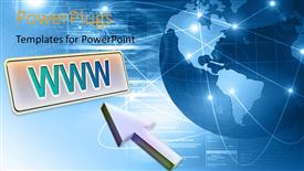 PowerPlugs: PowerPoint template with 3D globe with map over blue wave background