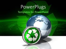 PowerPlugs: PowerPoint template with a 3D globe with two recycle symbols beside it