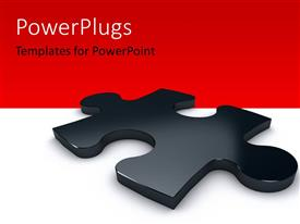PowerPlugs: PowerPoint template with 3D glossy black color puzzle over the white color