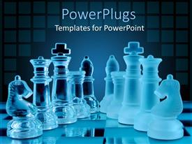PowerPlugs: PowerPoint template with 3D glowing chess pieces on chess table glossy chess set