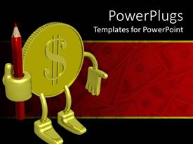 PowerPlugs: PowerPoint template with 3D gold coin figure with dollar sign holding red sharpened pencil, dollar bills on red and black background