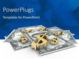 PowerPlugs: PowerPoint template with 3D gold dollar signs on hundred dollar bills with world map