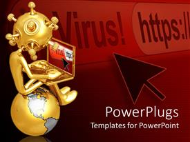 PowerPlugs: PowerPoint template with 3D gold figure holding laptop sitting on top of golden and silver globe with black cursor and virus warning