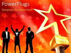 PowerPlugs: PowerPoint template with 3D gold star award on red-stars background with business people in silhouettes