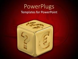 PowerPoint template displaying 3D golden cube with dollar sign, euro symbol, question mark on red background with dollar coin