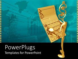 PowerPlugs: PowerPoint template with 3D golden figure with dollar symbol head holding a golden calculator on a world map with table background