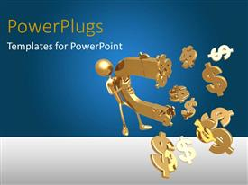 PowerPoint template displaying 3D golden figure holding huge horseshoe magnet attracting dollar signs