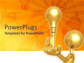 PowerPlugs: PowerPoint template with 3D golden figure holding key and light bulb with idea light bulbs on orange background