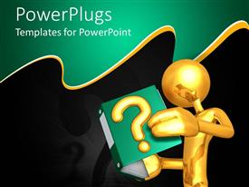 PowerPlugs: PowerPoint template with 3D golden figure holding open folder with golden question mark on cover