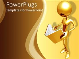 PowerPlugs: PowerPoint template with 3D golden figure holding and reading an opened book on a yellow and light brown background