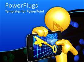 PowerPlugs: PowerPoint template with 3D golden figure holding smartphone with golden key on abstract patterned screen